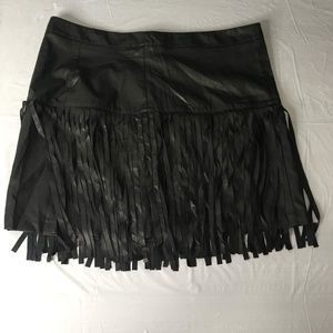 Black Suede Mini Fringed Skirt Size XL SKUG40